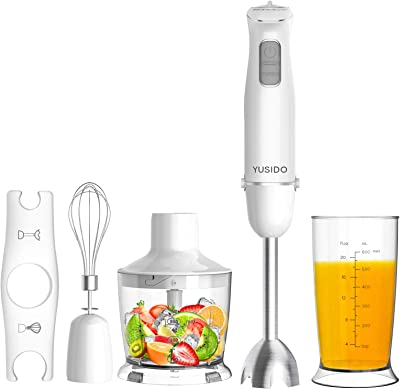 YUSIDO Immersion Hand Blender Powerful 800 Watt, Smart Stick with Titanium Steel Blades, 4-In-1 Food Processor Blender Combo for Multi-purpose Smoothie/Whisk/Chopper/Soup/Juicer/Crush Ice (White)