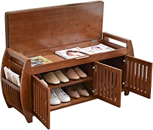 Bamboo Shoe Bench Rack with Removable Cushion, Hidden Storage Compartment, Side Drawer, Entryway Shoe Storage Organizer Shoe Cabinet for Hallway Entryway (40.2 x 12.6 x 18.3 inch)