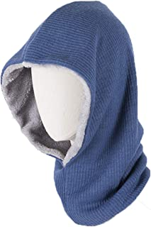 Runtlly Outdoor Warmer Fleece Hooded Scarf Hat Double Layers Warm Hoodie Hat