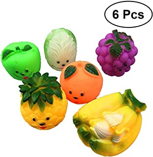 NUOLUX 6pcs Baby Bath Toys Vegetable Fruit Bathing Toy Water Game Toys for Baby Kids Toddler
