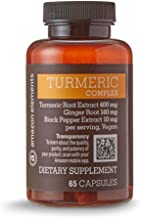 Amazon Elements Turmeric Complex, 400mg Curcumin, 140mg Ginger, 10mg Black Pepper - Joint & Immune System, Healthy Inflammation Response - 65 Capsules (2 month supply)