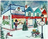 ホリデークリスマスガラスカッティングボード:装飾オールドファッション冬店頭、カラフルな現代的なスケッチ。