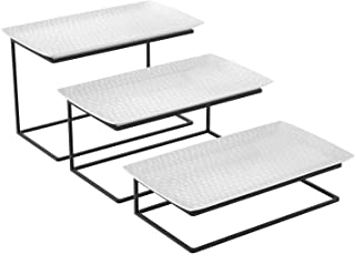 Love-KANKEI Tiered Serving Stand Tiered Serving Tray Free Combination for Party with 3 White Rectangular Platters to Display Food