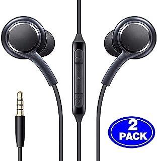 (2 حزمة) سماعات توضع داخل الاذن سلكية ايه يو اكس 3.5 ملم مع ميكروفون وجهاز تحكم عن بعد متوافقة مع هاتف جالاكسي S10 S9 S8 S...