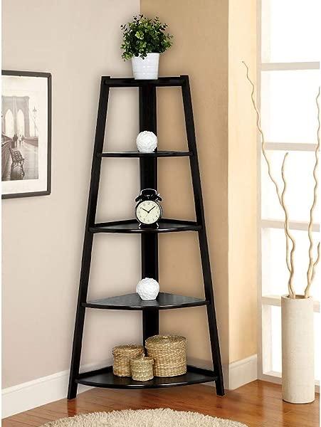 HomVent 5 Tier Wall Corner Shelf Stand Wood Ladder Bookshelf Bookcase Display Storage Home Furniture Black