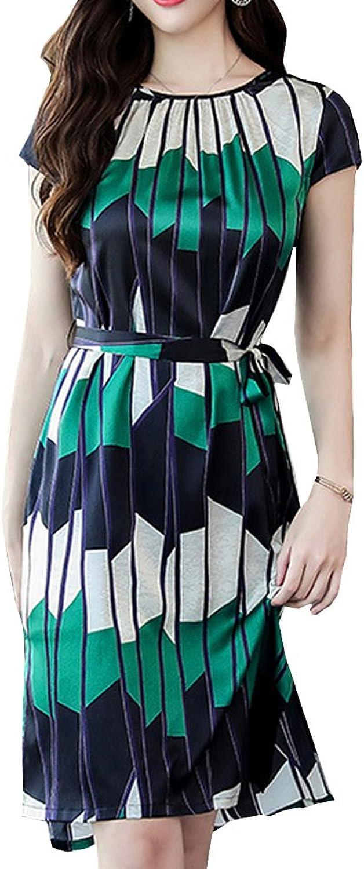 Dissa S8817 Women Vintage Short Sleeve Midi Cocktail Plus Size Silk Summer Dress