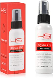 HSI PROFESSIONAL Argan Oil Heat Protector | Protect up to 450º F from Flat Irons & Hot Blow Dry | Sulfate Free, Prevents Damage & Breakage | Made in the USA | 2 Ounce, Packaging May Vary