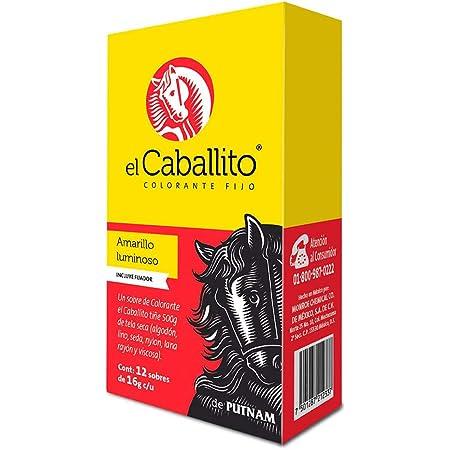 el Caballito Cajilla 12 sobres Colorante para Ropa Amarillo luminoso 16g c/u
