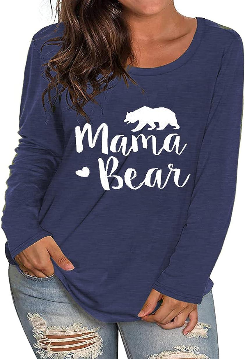 Plus Size Mama Bear Shirt Womens Mom T Shirts Graphic Tee Cute Tshirt Tunic Tops