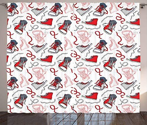 ABAKUHAUS Modern Gordijnen, Sport Schoenen Sneakers, Woonkamer Slaapkamer Raamgordijnen 2-delige set, 280 x 225 cm, Vermilion Wit Grijs