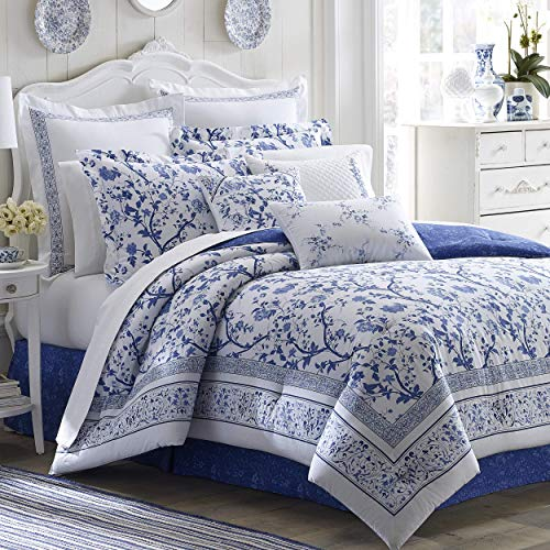 Laura Ashley Home - Charlotte Collection - Luxury Premium Ultra Soft Duvet Set, Lightweight & Comfortable Bedding, Stylish Design for Home Décor, Queen, China Blue