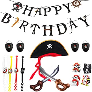 Pirate Birthday Party Supplies Kit,Pirate Favor Toy Bundle,Including Pirate Themed Inflatable Swords,Eye Patches,Hats, and Caribbean Pirates Silicone Toy Rings and Wristbands Bracelets