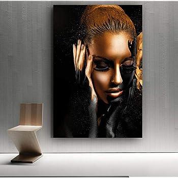 Tableau Decoratif Sur Toile Noir Or Femme Modele Art Affiche Moderne Fille Art Toile Peinture Pour La Maison Salon Decoration Murale Peinture 50x70cm Amazon Fr Cuisine Maison