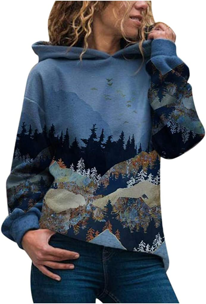 Women's Hoodies Plus Size Loose Casual Hooded Mountain Printed Round Neck Long Sleeves Pullover Sweatshirt Blouse Tops