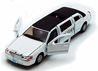 1999 New York Lincoln Town Car Stretch Limousine, White - Kinsmart 7001WNY - 1/38 scale Diecast Model Toy Car