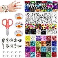 Cuentas de Colores para Hacer Collares Pulseras,3mm 3800pc Cuentas de Colores Mini Cuentas y 6mm 1200pc Abalorios Letras...