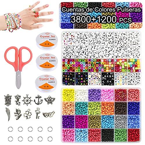 Cuentas de Colores abalorios pulseras,3mm 3800 Cuentas de Colores,6mm 1200 Cuentas Abalorios Letras 24 Colores kit para hacer pulseras DIY 5000 Piezas(Colourful)