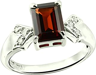 RB Gems Sterling Silver 925 Ring GENUINE GEMS Octagon 8X6 mm RHODIUM-PLATED Finish, CLASSIC SOLITAIRE