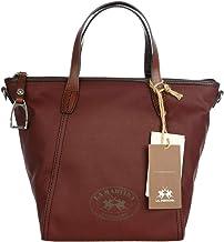 Bolsa de lona Mujer–La Martina Shopping Bag de mano Vintage Designer–Funda con asa Rojo Vino Rojo–Color: Burdeos