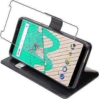 ebestStar – kompatibel med Wiko View Max fodral plånboksfodral PU-läder flip fodral med kortplats, svart + härdat glas skä...
