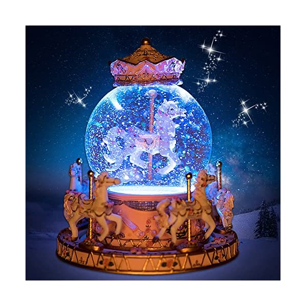 Luxury Carousel Music Box Crystal Ball Music Box with Castle in the Sky Tune Creative Home Decor Ornament Gifts Perfect… 4
