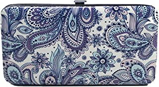 Chicastic Purple Paisley Print Flat Hard Clutch Wallet
