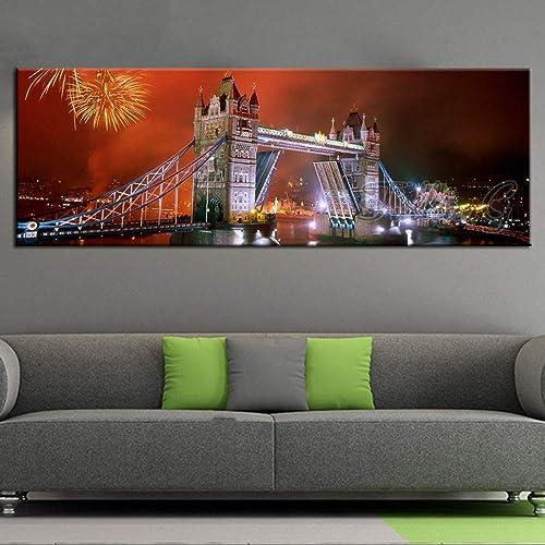 cómodo Fuegos artificiales grandes del paisaje del bordado bordado bordado del mosaico del puente del castillo de la noche de la pintura de 5D Diy,los 50X150cm  promociones de descuento