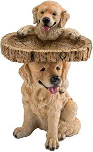"""Plow & Hearth Two Playful Golden Retriever Puppies Resin Birdbath Hand-Painted All-Weather Wood-Look Resin Landscape and Garden Accent, 13¼"""" Dia. x 22"""" H"""