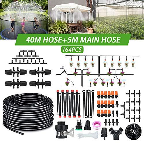 Tvird Bewässerungssystem Garten 45m Micro Drip Bewässerung Kit Gartenbewässerung Automatikche Tröpfchenbewässerung Sprühdüse Bewässerungssets Gartenschlauch Kits für Garten(164PCS)