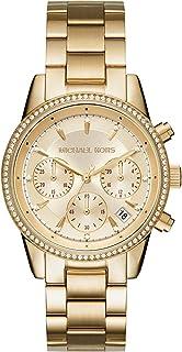 ساعة للنساء بمينا ذهبي وسوار من الستانلس ستيل من مايكل كورس ريتز- MK6356
