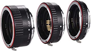 Festnight Docooler Macro Extension Tube Set Copper Auto Focus AF Macro Lens Extension Tube Ring with Covers DSLR Camera