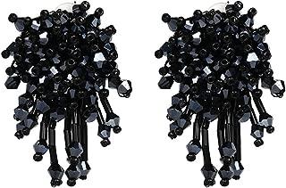 Charming Crystal Beads Thread Long Geometric Charms Eardrop Dangle Drop Earrings (Metallic Black)