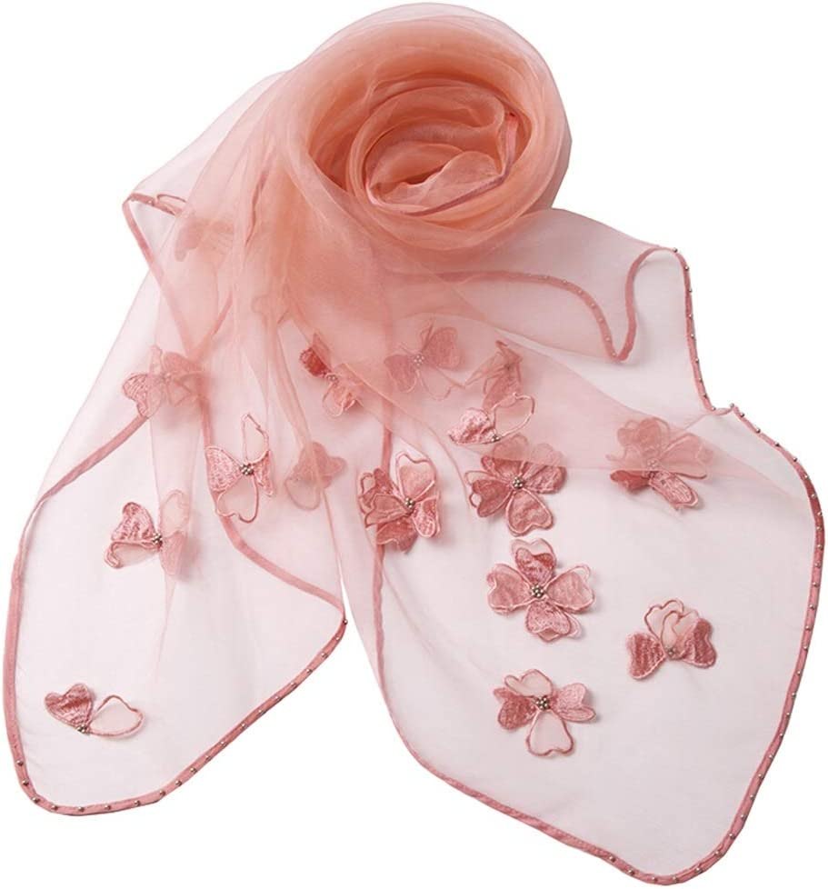 Long Scarves Wrap Shawl Long Stole Thick Style Scarf Headscarf Neck Wrap Stole Muffler-Four Seasons Female Mulberry Silk Fashion Long Scarf HENGXIAO (Color : Orange Pink, Size : 18070cm)