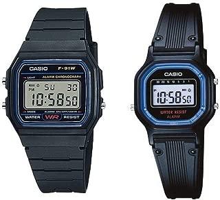 F91W-1/LA11WB-1 Men's and Women's Resin Band Alarm Chronograph Digital Watch Set