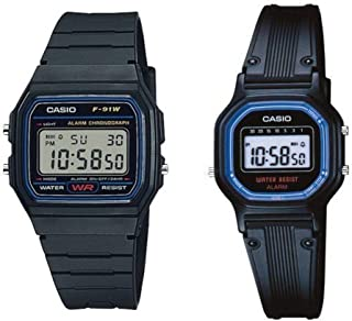 Casio F91W-1/LA11WB-1 Men's and Women's Resin Band Alarm Chronograph Digital Watch Set