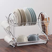 Kitchen Storage Rack S-Shaped Double Dish Rack | Cutlery with Drain Tray for Kitchen, Storage