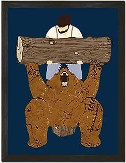 Sharp Shirter Funny Bear Poster Gym Theme Wall Art College Decor Mancave Print Arm Wrestling Blue 8x10 18x24