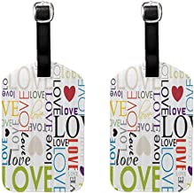 2 PCS Multicolor luggage tag Love Decor Collection Love Heart Shape Pattern Colorful Typography Engagement Modern Artistic Image Unisex Green Black Red Purple