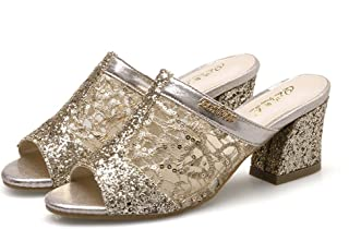 6d2f406e1e11 Zarbrina Womens Chunky Mid Heels Sandals Ladies Sequins Mesh Open Toe  Breathable Cute Soft Slides Shoes