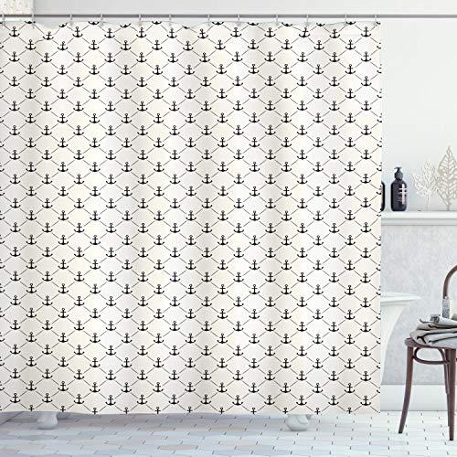 ABAKUHAUS Anker Duschvorhang, Retro Marine-Art-Ikonen, Leicht zu pflegener Stoff mit 12 Haken Wasserdicht Farbfest Bakterie Resistent, 175 x 200 cm, Schwarz weiß