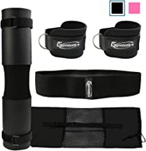 Gymletics 7 Pack Barbell Squat Pad for Standard Set, Barbell Pad for Hip Thrusts, 2 Gym Ankle Straps, Hip Exercise Band, 2 Squat Pad Safety Straps and Carry Bag