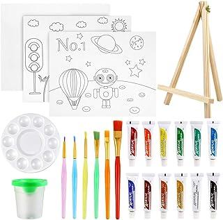 Pllieay Lot de 24 pièces de peinture pour enfants, ensemble de peinture acrylique avec mini chevalet, peinture acrylique, ...