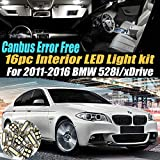 16Pc Canbus Error Free Super White 6000K Car Interior LED Light Kit Compatible for 2011-2016 BMW 528i/528i xDrive Equipped w/Advanced Computer system