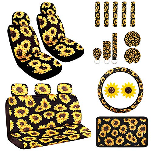Aulufft Sunflower Car Accessories Set 23pcs Car Sunflower Steering Wheel Cover,Car Seat Covers, Seat Belt Covers,Center Console Armrest Pad,Car Cup Holder Coaster,Keychain, Lanyard,Vent Decor