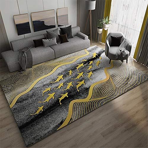 alfombras alargadas cuadros cabecero cama matrimonio Alfombra rectangular para sala de estar gris dorado antideslizante, resistente a la suciedad y al desgaste alfombra silla oficina 160X200CM 5ft 3'X