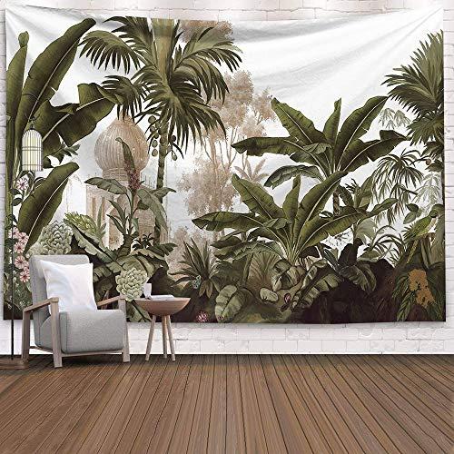 KHKJ Tapiz de Palmera Colgante de Pared Hojas Tropicales Flores Patrón Tapices Fondo Grande Techo Tela de Pared Alfombra A9 150x130cm