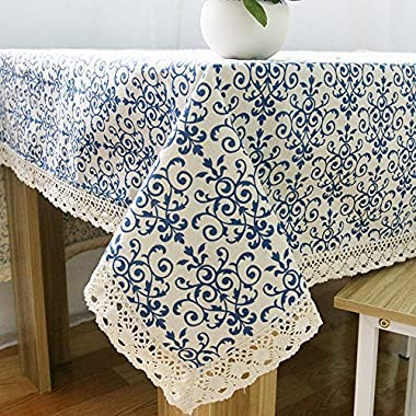 Elome Washable Cotton Linen Fabric Vintage Navy Damask Pattern Decorative Macrame Lace Rectangle Tablecloth Dinner Picnic Table Cloth Home Decorative Table Cover Assorted Size