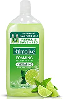 Palmolive Hydrating Foaming Lime & Mint Liquid Hand Wash, 500ml Refill Bottle, Removes Germs, Refreshing Fragrance