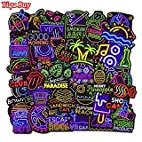 AXHZL Cool Neon Stickers for Kids Toys Bicycle Phone Suitcase Guitar Bumper Skateboard Backpack JDM Graffiti Waterproof Sticker50 Pcs