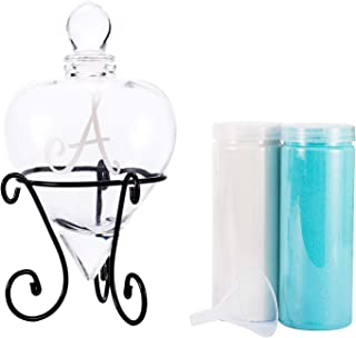 Andrew Family Monogrammed Etched Wedding Glass Heart Shaped Unity Set with Metal Stand Initial A, White and Blue Sand Included